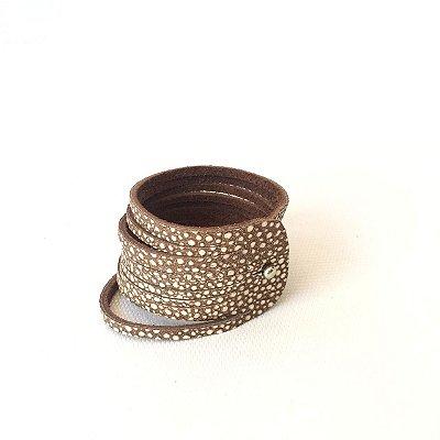 Bracelete em Couro Avestruz