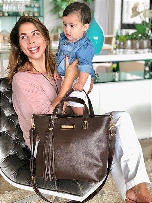 Bolsa maternidade de Couro Cafe Multi Mae