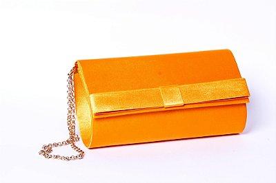 Carteira de festa laranja cetim mini laço