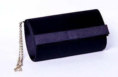 Carteira de festa preta cetim mini laço