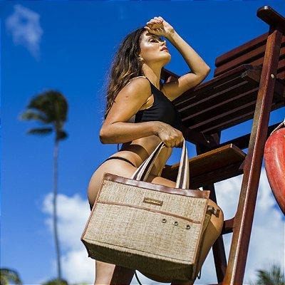 Bolsa de palha de Praia em tela Palhinha Otima