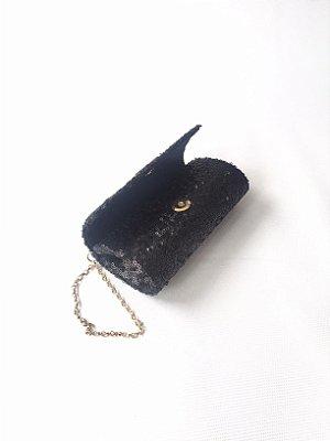 Bolsa para festa preta mini bolinha paetê
