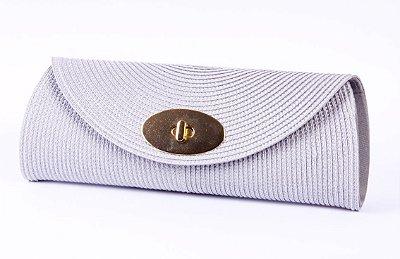 Carteira de palha prata fecho colorama