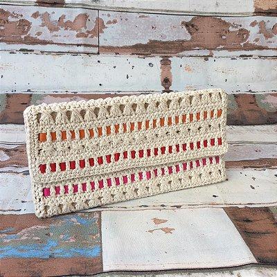 Carteira de crochet fitas