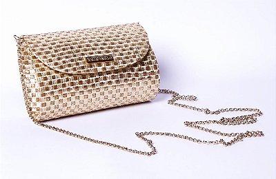 Bolsa de palha dourada com corrente Fat