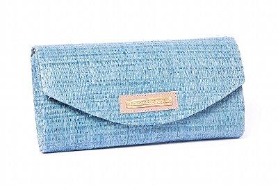 Carteira de palha azul stamp
