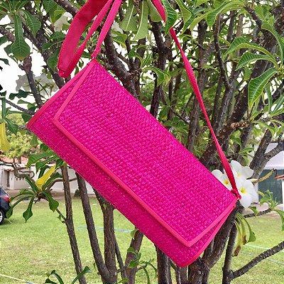 Bolsa de palha pink com friso cetim