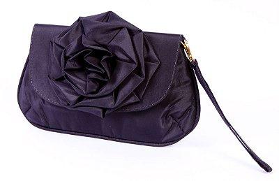 Carteira de festa preta flor fashion