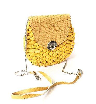 Bolsa de palha amarela de milho redonda