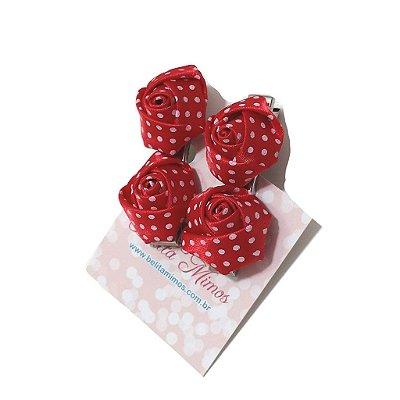 Kit de 2 bico de pato com Flores Vermelhas