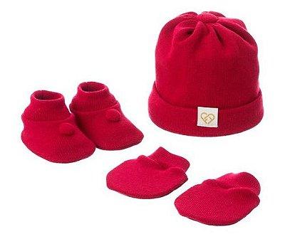 Kit Touca Luva e Sapatinho de Tricô - Fio de Amor Vermelho