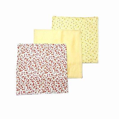 Pano de Boca c/ 3 unidades- Floral Amarelo