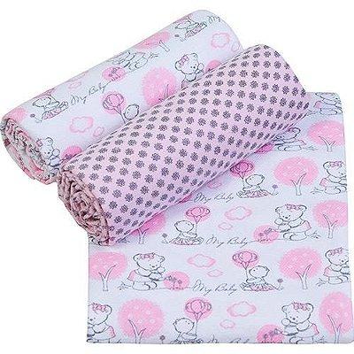 Conjunto Cueiro Papi Composê Estampado Rosa 80x60 - 3 unidades- Papi Têxtil