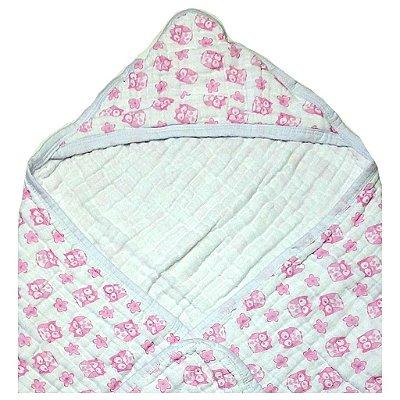 Toalha de Banho Swaddle Coruja Rosa