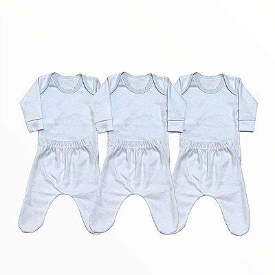 Kti Bebê Prematuro Body e Mijão em Algodão Branco - 3 unidades