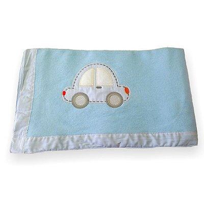Cobertor Soft para Bebê Bordado- Carro Azul
