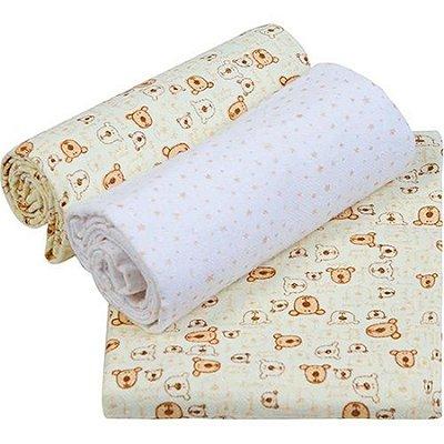 Conjunto Cueiro Papi Composê Estampado bege 80x60 - 3 unidades- Papi Têxtil