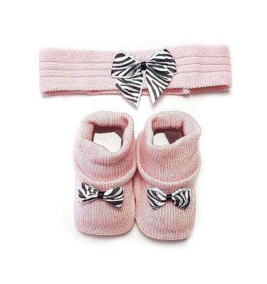 kit sapatinho e tiara Rosa com lacinho Zebra