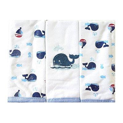 Pano de Boca Minasrey de Malha - Baleias Azul