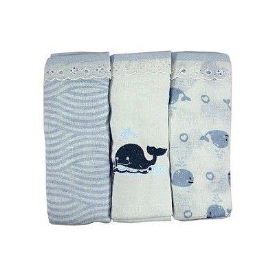 Fralda de Pano Filhotes com bainha  C/3 unidades Azul -Minasrey