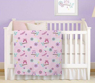 Manta Prime Flannel para Bebê Coruja Rosa