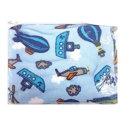 Manta Prime Flannel para Bebê Balão Azul