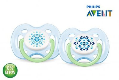 Chupeta de Bebê Ortodôntica Contemporânea 0 6 Meses Azul Philips Avent 02 unidades