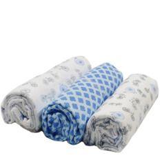 Conjunto  Cueiro  Soft Estampado Azul  Bicicletas 80x60- 3 unidades - Papi Têxtil