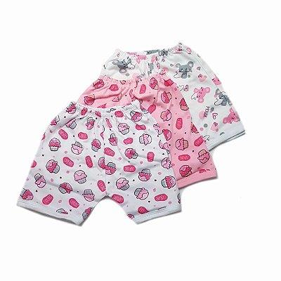 Kit de 3 Shorts Estampados Cupcake