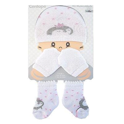 Kit Maternidade Touca, Luvas e meias - Princesa Rosa- Centopé