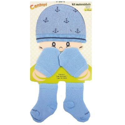 Kit Maternidade Touca, Luvas e meias - Azul Ancoras