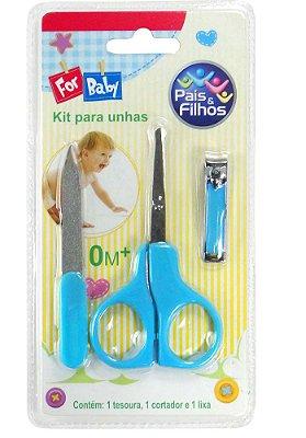 Kit Tesoura Para Unhas Azul - Pais e filhos