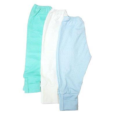 Kit de 3 calças com pé Reversível Menino