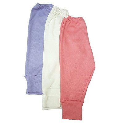 Kit de 3 calças com pé Reversível Menina