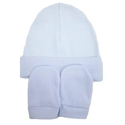 Kit Touca e Luvas Branca - 0 a 4 meses 100% algodão