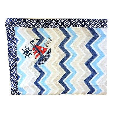 Cobertor Soft para Bebê Bordado- Chevron Marinho