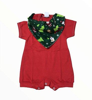 Conjunto de macaquinho Vermelho e Bandana Natal verde