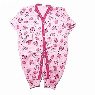 Macacão de Manga Longa - Cupcake rosa