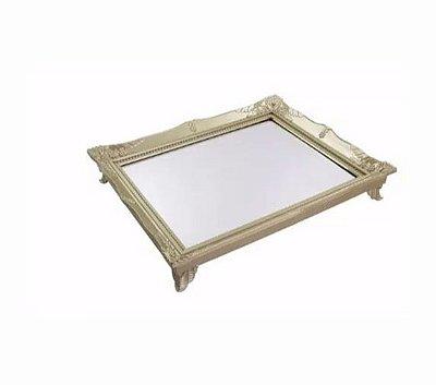 Bandeja Retangular Plástica c/ Espelho - Dourada