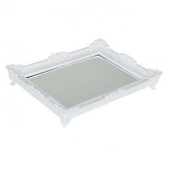 Bandeja Retangular Plástica c/ Espelho - Branca
