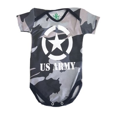 BODY DIVERTIDO CAMUFLADO US ARMY - CINZA