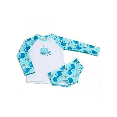 Blusa + Sunga UV 50+ Baleia Azul
