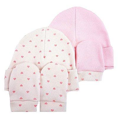 Kit 2 Toucas e 2 Luvas 0 a 4 meses 100% algodão - Mini Corações