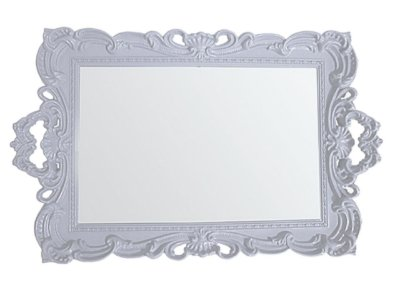 Bandeja Retangular Plástica c/ Espelho sem pés - Branca
