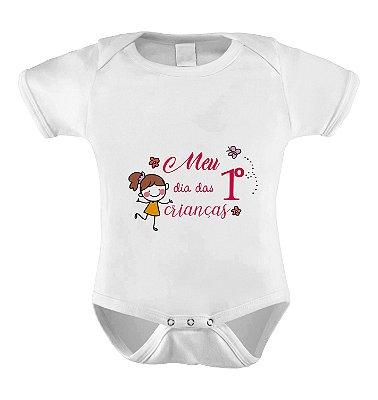 Body ou Camiseta Divertido - Meu Primeiro dia das Crianças Menina