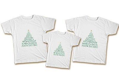 Kit Familia Natal - 2 camisetas adultas + 1 camiseta infantil