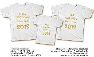 Kit Familia de Camisetas de Ano Novo- 2019 Dourado