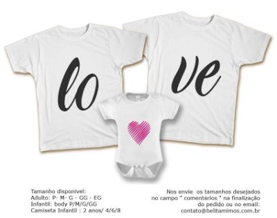 Kit Familia de Camisetas de LOVE ROSA