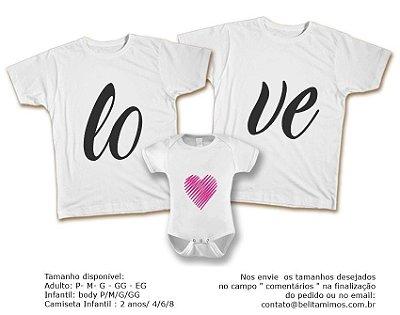 Kit Familia de Camisetas de LOVE ROSA