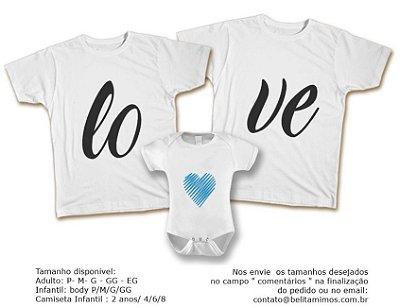 Kit Familia de Camisetas de LOVE AZUL